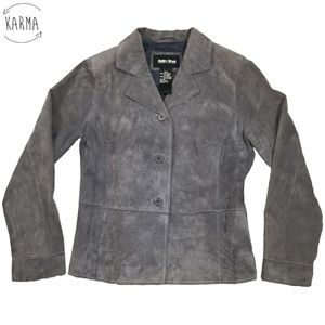 Brandon Thomas Genuine Suede Leather Blazer Jacket